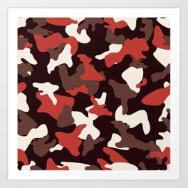 Red camo camouflage army pattern Art Print