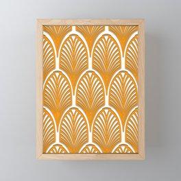 Orange,white,art deco, vintage,fan pattern, art nouveau, vintage, Framed Mini Art Print