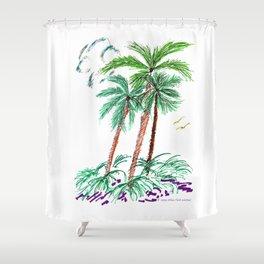 """Triplet Palms"" Shower Curtain"