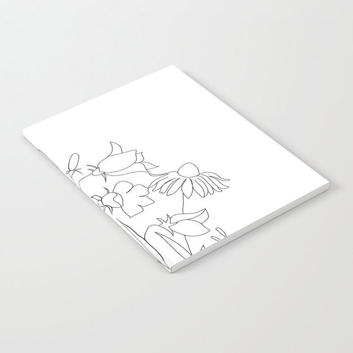 Small Wildflowers Minimalist Line Art Notebook