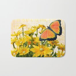 Yellow Daisies with Butterfly Bath Mat