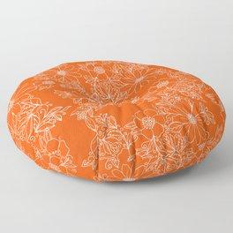 Hand drawn white bright orange modern floral Floor Pillow