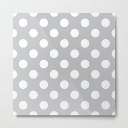 Silver sand - grey - White Polka Dots - Pois Pattern Metal Print