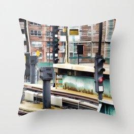 Railway station and semaphore Throw Pillow