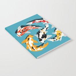 Colorful Koi Carps Swimming Around Notebook