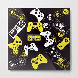 Video Games yellow on black Metal Print