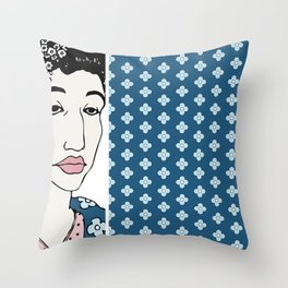 Blue Flowers of China Throw Pillow