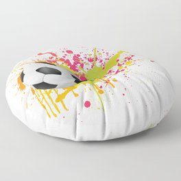 Football design with colorful splashes Floor Pillow