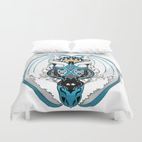 skyfall Duvet Covers featuring Smoking Skyfall Dragon by Pr0l0gue