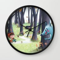 red hood Wall Clocks featuring Red Riding Hood by Antoana Oreski Illustration