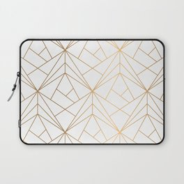 Geometric Gold Pattern With White Shimmer Laptop Sleeve