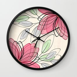 Large pink flowers. Wall Clock