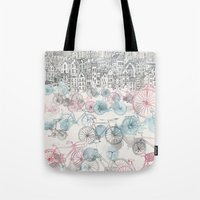 city Tote Bags featuring Old Town Bikes by David Fleck