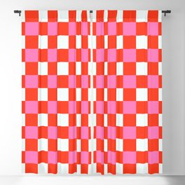 Red Chessboard Blackout Curtain