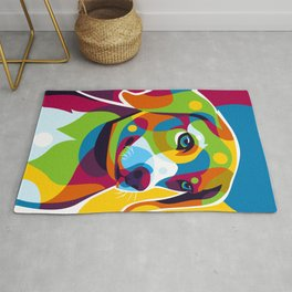 The Colorful Little Puppy Pop Art Style Rug