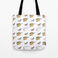 tits Tote Bags featuring Great Tits eat Grasshoppers by The Bird Draws