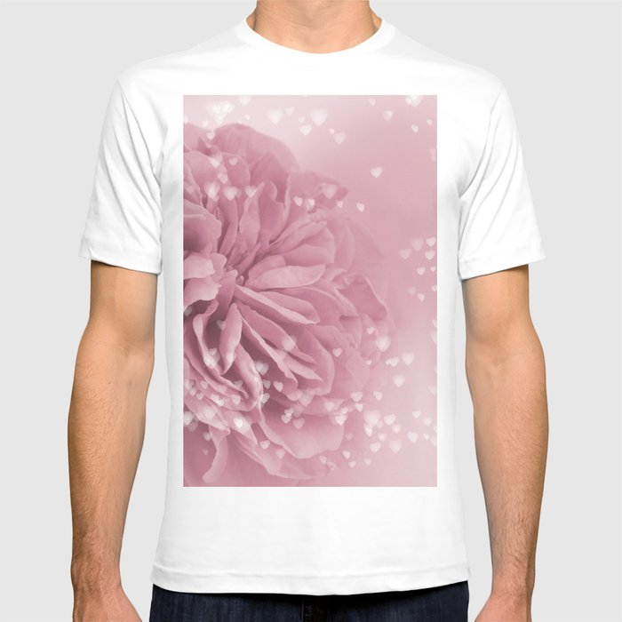 Light Pink Rose with hearts #1 #floral #art #society6 T-shirt