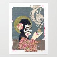 Santa Muerte Cafe' Art Print