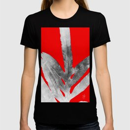 Green Fern on Red Inverted T-shirt