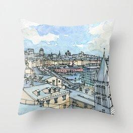 Il porto di Genova Throw Pillow