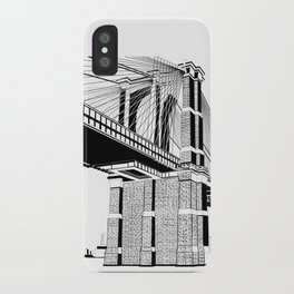 Brooklyn Bridge Black and White iPhone Case