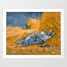 "Vincent van Gogh - Noon Rest From Work (A ""Copy"" of a Jean-François Millet Work) Art Print"