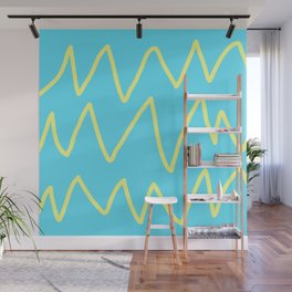 Abstract Yellow Line On Aqua Blue Minimal Art Wall Mural