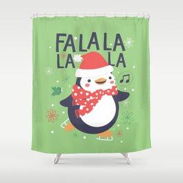 Fa la la penguin Shower Curtain