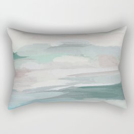 Sage Green Sky Blue Blush Pink Abstract Nature Sky Wall Art, Water Land Painting Print Rectangular Pillow