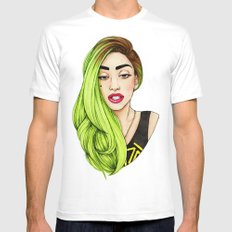 Lady Neon White Mens Fitted Tee 2X-LARGE