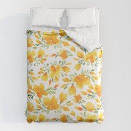 Watercolor california poppies bouquet Duvet Cover