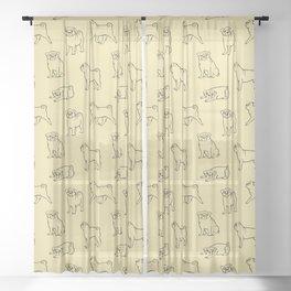 Pug Pattern Sheer Curtain