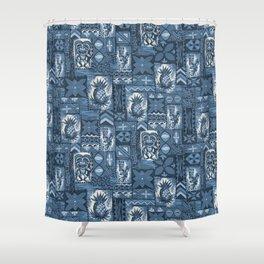 Pomaika'i Tiki Hawaiian Vintage Tapa -Indigo Shower Curtain