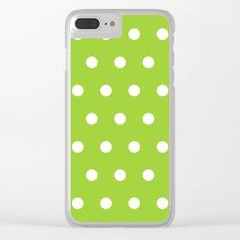 Swiss cross pattern on yellow green Clear iPhone Case