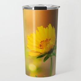 Coreopsis Flower with Orange Background Travel Mug