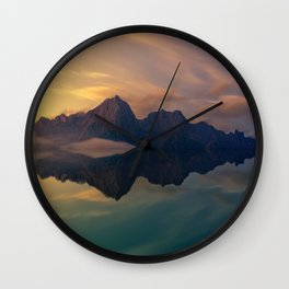 Fantasy mountain reflection Wall Clock