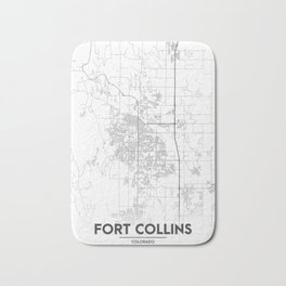 Minimal City Maps - Map Of Fort Collins, Colorado, United States Bath Mat