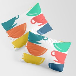 A Teetering Tower Of Colorful Tea Cups Pillow Sham