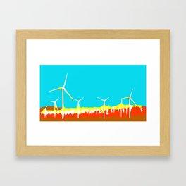 wind turbine in the desert with blue sky Framed Art Print