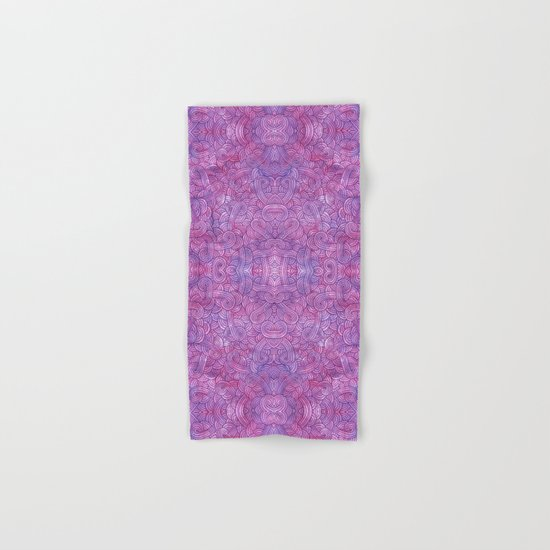 Neon pink and purple swirls doodles Hand & Bath Towel
