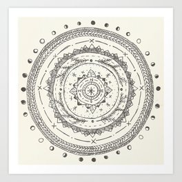 Moon Phase Mountain Mandala Art Print