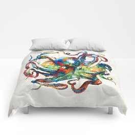 Colorful Octopus Art by Sharon Cummings Comforters
