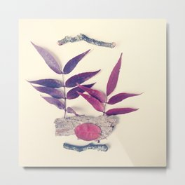 Red Leaf and Twigs Collection Metal Print
