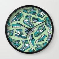sneaker Wall Clocks featuring Sneaker Lover in Green by Artwork by Brie