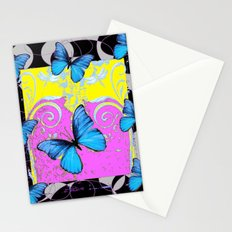Colorful Modern Blue Butterflies Lilac Yellow Black Design Stationery Cards