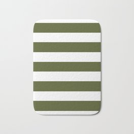 Army green - solid color - white stripes pattern Bath Mat