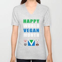 Happy World Vegan Month Unisex V-Neck