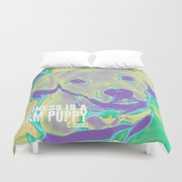 pitbull Duvet Covers featuring Happiness: Pitbull (Dog)  by PupKat