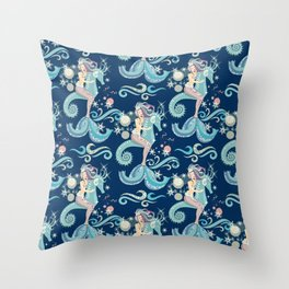 Lovely Ice Queen Mermaid Throw Pillow