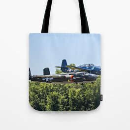 B-24 and Hellcat World War II Aircraft Fly Together at Mosby Missouri Tote Bag